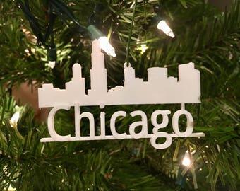 Chicago Skyline Tree Ornament 3D-Printed