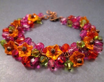 Flower Charm Bracelet, Bright Bouquet, Colorful and Copper Cha Cha Bracelet, FREE Shipping U.S.