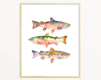 Watercolor Trout Art Print. Red Watercolor Trout Painting. Trout Wall Art. Trout Print. Lake House Wall Art. Angler Wall Art. Fisherman Gift