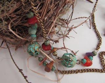 Bohemian Bird Song ~ OOAK Filigree Brass Chain