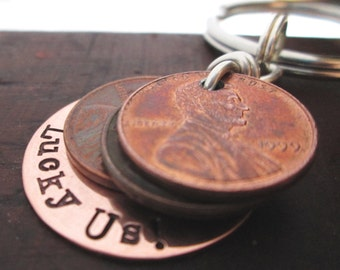Lucky Us Keychain - Penny Keychain -Personalized Keychain - Hand stamped key ring - Gift for Him
