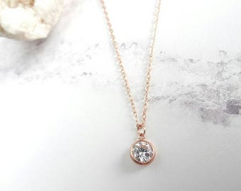 Rose Gold Filled - Rose Gold Necklace - Cubic Zirconia Pendant - Dainty Necklace - Small Pendant - Bridesmaid Necklace - Gift for Her