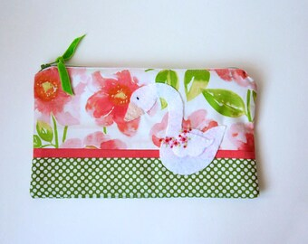 "Zipper Pouch, 9 x 5.5 "" in Green, White, Blush, Coral and Peach Flowers with Handmade Felt Swan Embellishment, Swan Pencil Case"