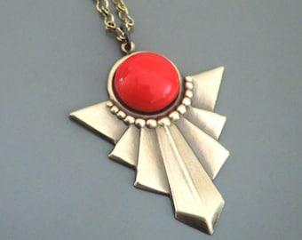 Valentine's Gift - Vintage Jewelry - Art Deco Necklace - Red Necklace - Vintage Necklace - Pendant Necklace - handmade jewelry