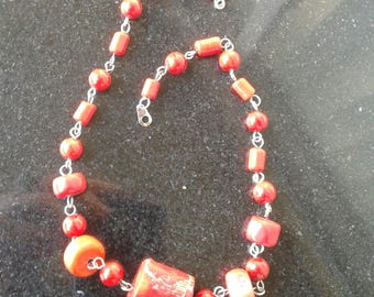 Bold Red Coral silver clasp necklace