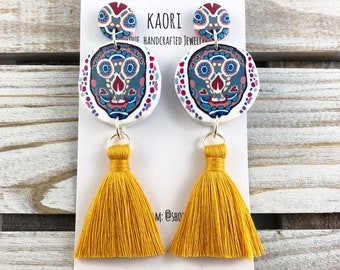 Earrings - tassel earrings, Polymer clay studs, statement earrings, sugar skulls with yellow tassels