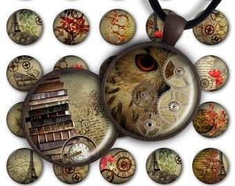 75% OFF SALE Digital Collage Sheet Autumn Steampunk 1inch Round 30mm 25mm 20mm Circle Pendant Download PC054 Instant Download Jewelry Making