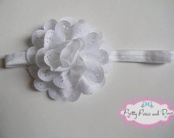 White Eyelet Flower Headband, White Eyelet Flower Hair Clip, White Headband,  Baby Shower Gift, Easter Headband, Eyelet Flowers