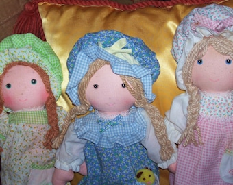 """Set of 3 Holly Hollie Hobbie Hobby Amy Carrie Rag Doll in Nightgowns 12"""""""