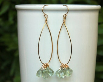 Green Amethyst Hoop Earrings, You Choose Size, Gold or SIlver, Lightweight Hoops, Teardrop Hoops, Gemstone Hoops, Free Shipping