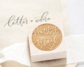 Circular Happy Mail Stamp | Mail art stamp, Packaging stamp, Stationery gift, Accessory stamp