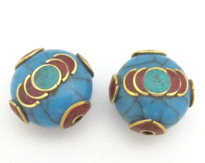 1 Bead - Tibetan blue crackle Resin bead with brass , turquoise and coral inlay - BD689B