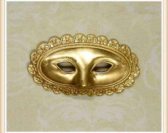 2 pieces mask mardi gras masquerade raw brass, vintage,stampings, embellishments (SMALL)#4180