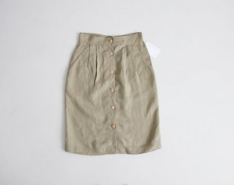 high waist linen skirt | asparagus green skirt | button down pencil skirt
