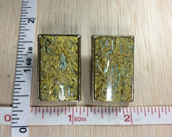 Vintage Clip On Earrings Yellow Rectangles Used lucite