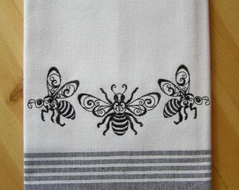 Bee Trio Border Kitchen Towel