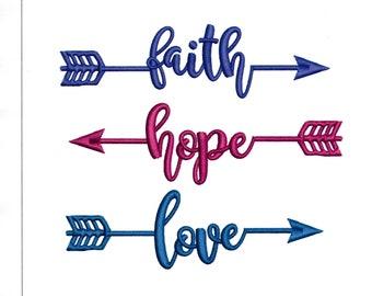 Embroidery Designs Faith, Hope, Love, Inspirational