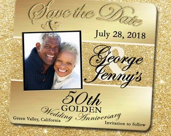 Save the Date Card - 50th Anniversary Gold Glitter Save the Date Card,Save the Date,50th Save the Date,Golden Anniversary Save the Date Card