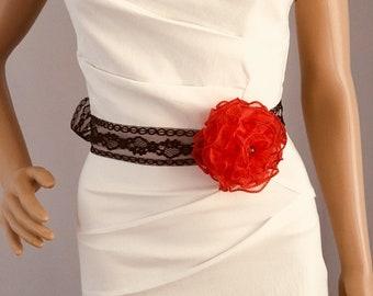 Red color rose sash