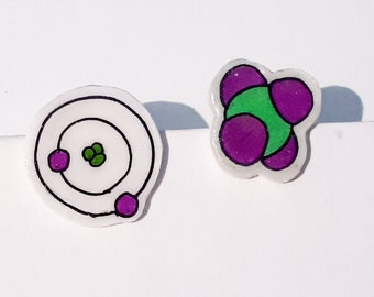 Atom / Molecule Stud Earrings -- Unique Item -- Science jewellery --