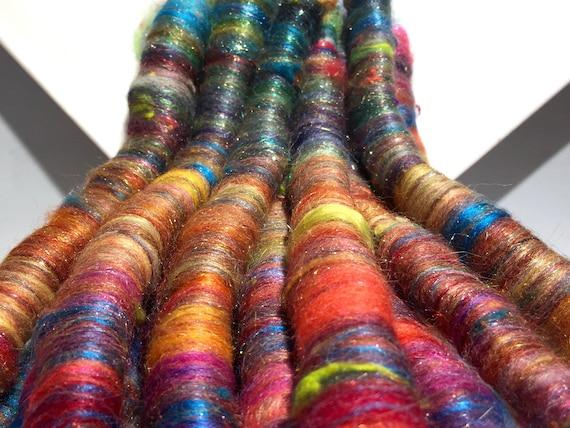 "Scrap fiber spinning felting rolags ""Spring Cleaning"" fiber art rolags, by the ounce, wool fiber nuno felting mini, rainbow rolags"