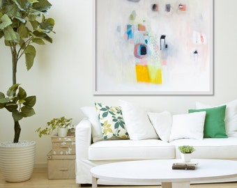 """ABSTRACT PRINT of original painting, Giclée print, white, yellow, blue, """" F Stop a Lot"""""""