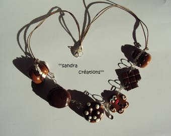sweet chocolate polymer clay necklace