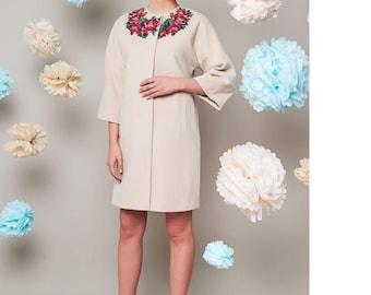 Embroidered coat, wool coat, wool coat women, coats, wool coat midi, coat, women coat, cashmere coat
