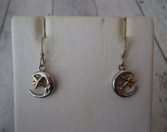 Vintage Sterling Silver Half Moon and Star Earrings, 2-Tone Gold and Silver, Pierced Wire