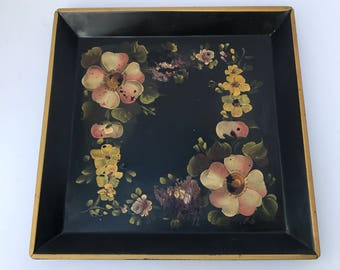 Tole Tray, Hand Painted, Antique Serving Tray, Victorian Tray,