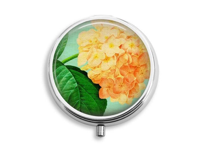 Hydrangea Pill Box Stash Case Silver