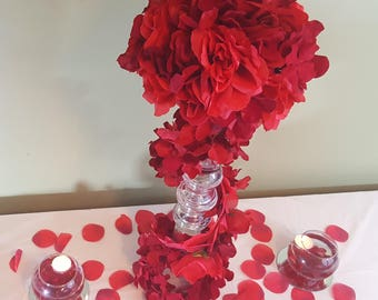 Red Wedding Trail of Roses Centerpiece