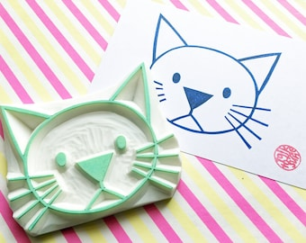 large cat rubber stamp | animal stamp | birthday baby shower card making | fabric stamping | gift wrapping | hand carved by talktothesun