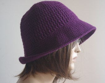 Womens Fedora hat- chunky knit Slouchy PURPLE Beanie Slouch Hat Fall Winter Accessories beanie Autumn christmas Fashion