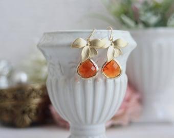 Gold Orange Tangerine Orchid Flowers, Orange Glass Framed Jewel Drop Earrings. Bridesmaid Gift Modern Everyday Jewlery. Orange Gold Wedding