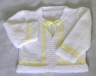 Baby Sweater Pullover Handknitted in White with Yellow, 6 - 12 Months