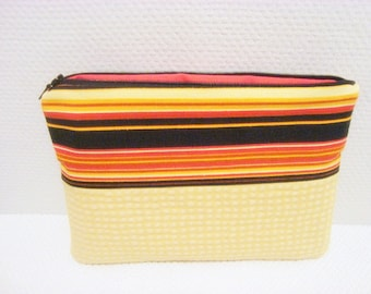 Yellow Wool Cosmetic Bag, Retro Striped Makeup Bag/Clutch, Large Flat Fabric Zipper Pouch, 9.5 x 6""