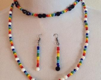 Rainbow Necklace, Hippie Necklace, Rainbow Earrings, Rainbow Bead Jewelry, Under 10 Gift, Dangle Earrings, Rainbow Jewelry Set, Mom Gift