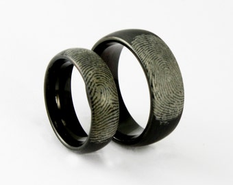Couples Custom Engraved Black Tungsten Fingerprint Rings His and Hers Matching Promise Ring Set Satin Finish