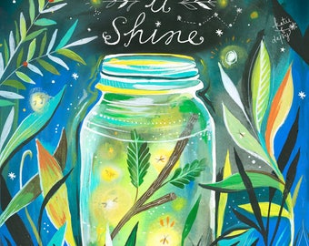 Let it Shine - various sizes - STRETCHED CANVAS - Katie Daisy art