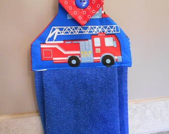 Hanging Hand Towel with Fire Engine Print