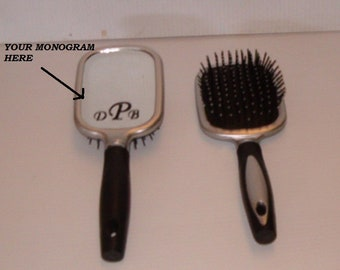 """Monogrammed 9.5""""  long Hair Brush With Mirror On Back"""