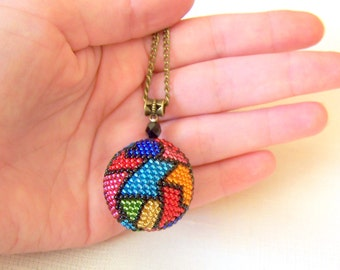 Abstract Art Ball Pendant - Globe Pendant - Geometric colorful Pendant - Bead crochet pendant - Modern Pendant Necklace - Shiny pendant