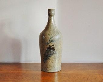 Decorated Salt Glazed Stoneware Bottle Signed Billy Ray Hussey Wine Bottle, North Carolina Hand Thrown Art Pottery Traditional Southern Folk