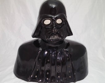 1970s Darth Vader Lamp - Kiln Fired Glazed Pottery Bust, Previously wired with an electric bulb - Star Wars, Science Fiction, Man Cave Decor
