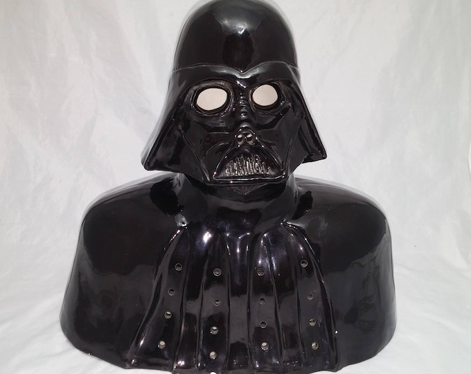 Featured listing image: 1970s Darth Vader Lamp - Kiln Fired Glazed Pottery Bust, Previously wired with an electric bulb - Star Wars, Science Fiction, Man Cave Decor