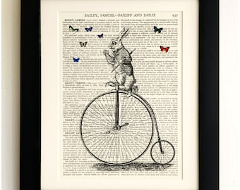 ART PRINT on old antique book page - White Rabbit on Penny Farthing Alice Vintage Wall Art Print Encyclopaedia Dictionary Page Fab Gift! : penny farthing wall art - www.pureclipart.com