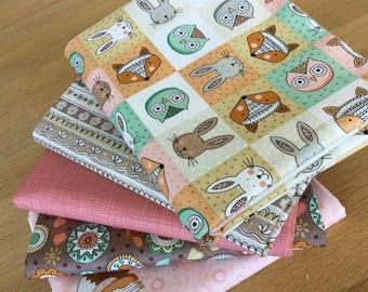 Doodle Days Fat Quarter Bundle E by Makower Owls Birds Floral