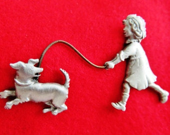 JJ Jonette Pewter Girl Walking Dog Tack Pin