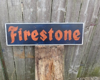 "Hand Painted Reproduction Vintage Firestone sign Primitive Advertising Nostalgia 32 x 9 1/2"" wood sign Rustic Man Cave Decor"